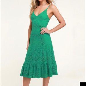Green lace midi